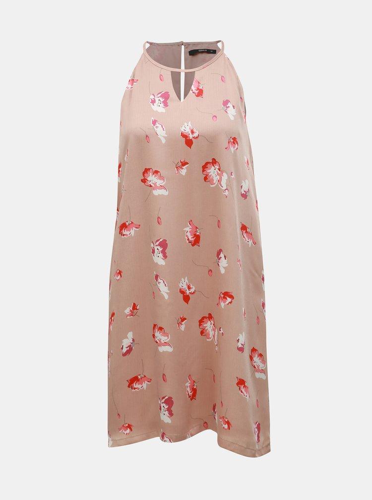 Starorůžové květované šaty ONLY Giza