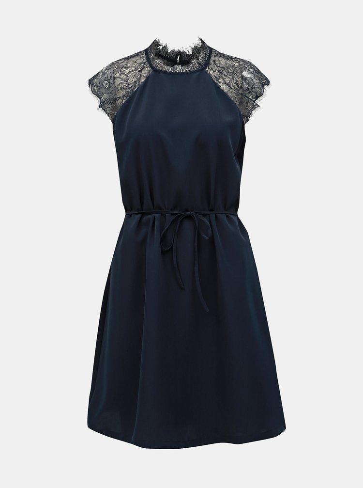 Tmavě modré šaty s krajkou ONLY Lunu