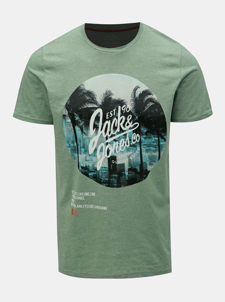 Zelené tričko s potiskem Jack & Jones Stuunt