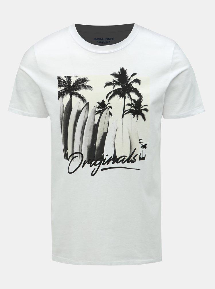 Biele tričko s potlačou Jack & Jones Heated