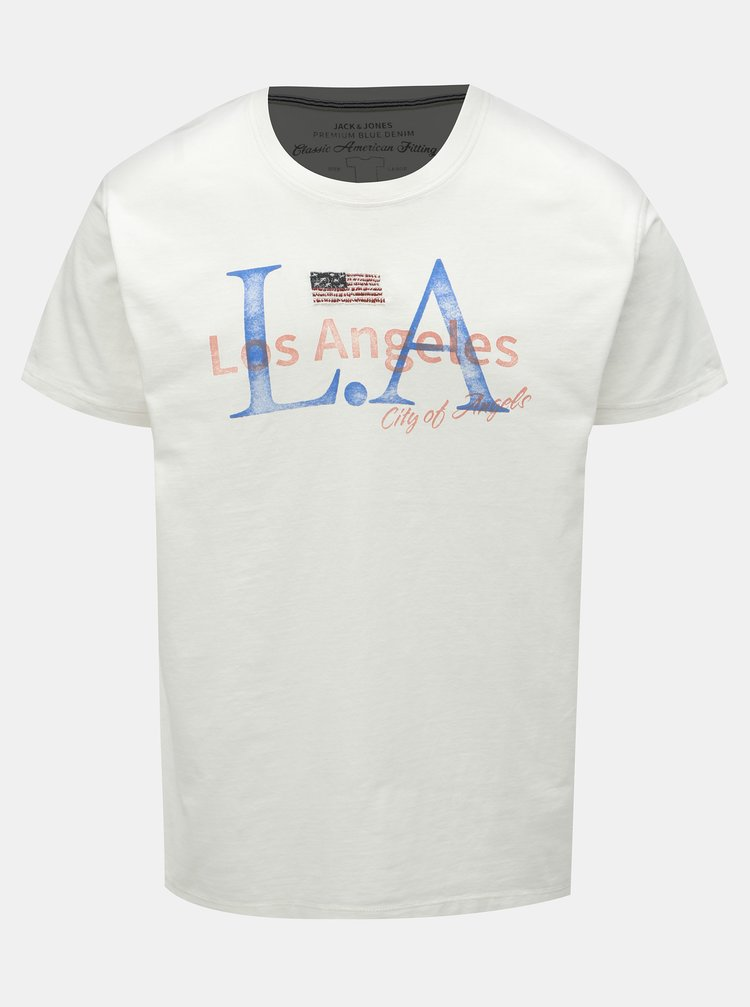 Biele tričko s potlačou Jack & Jones Luke