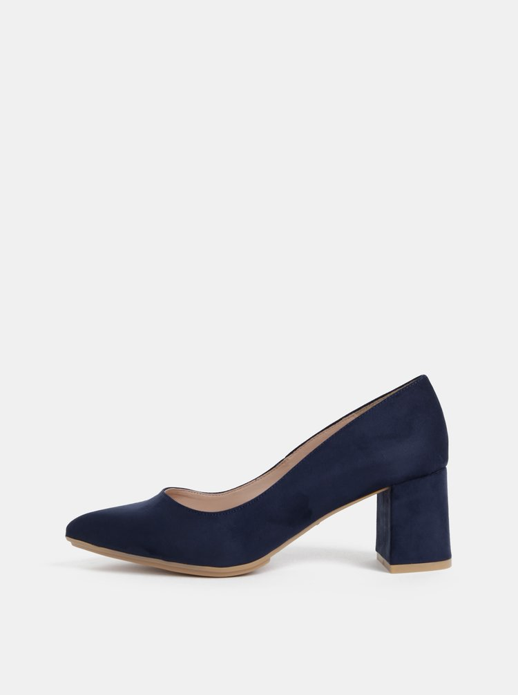 Pantofi albastru inchis cu aspect de piele intoarsa OJJU