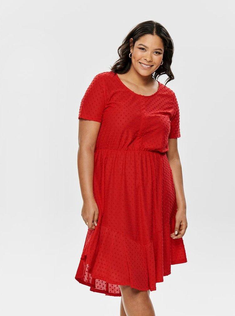Červené bodkované šaty ONLY CARMAKOMA Didde
