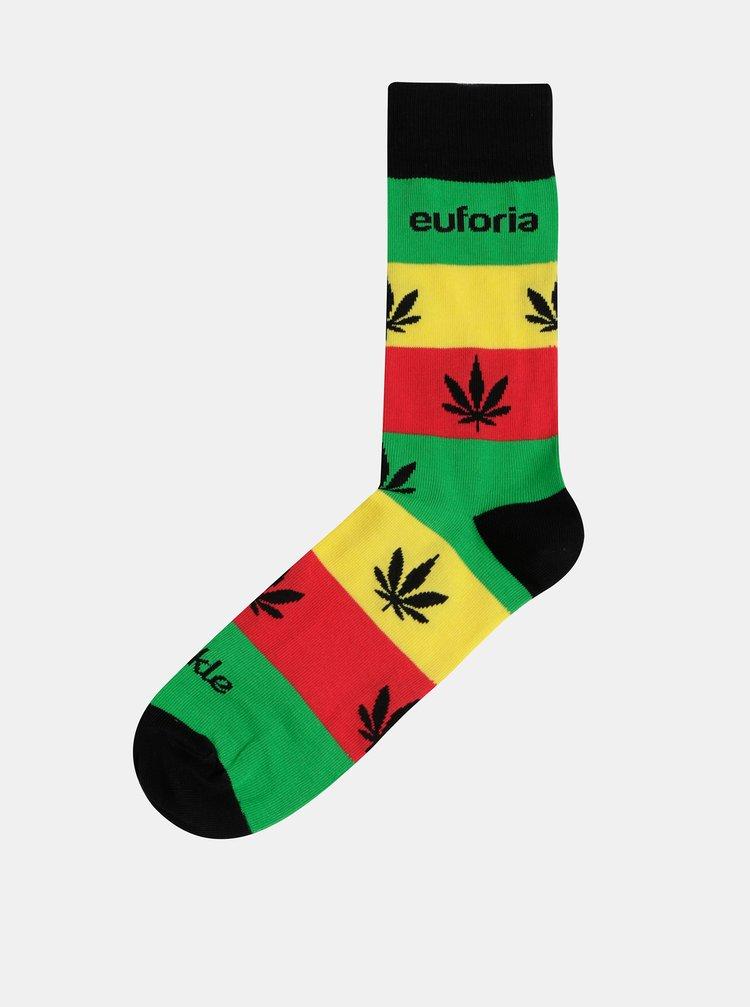 Žluto-zelené vzorované ponožky Fusakle Euforie Reggae