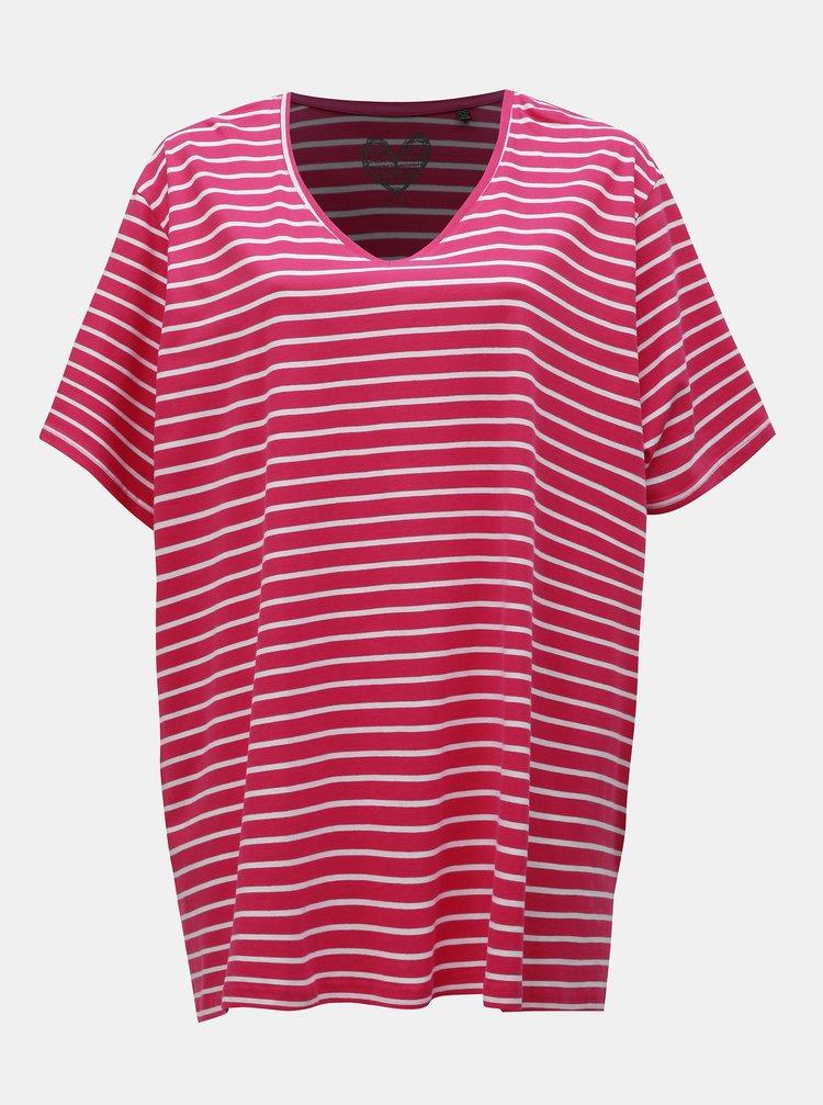 Tmavoružové pruhované basic tričko s rozparkami Ulla Popken