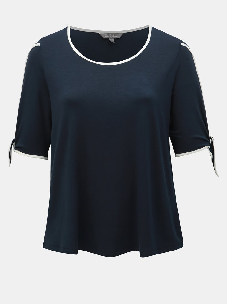 Tricou albastru inchis in dungi cu decupaje Ulla Popken
