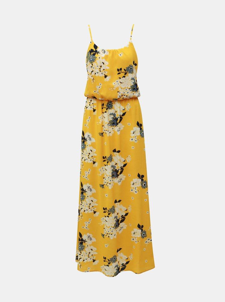 Žluté květované maxišaty na ramínka ONLY Winner
