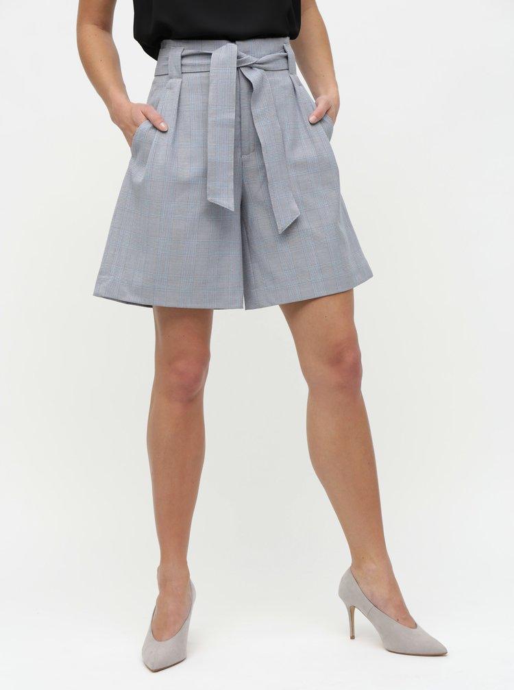 Pantaloni scurti gri in carouri cu talie inalta ONLY Raya