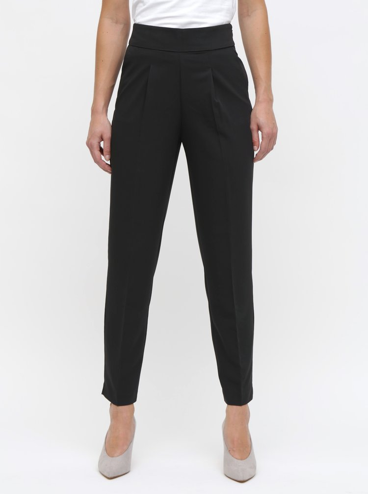 Černé kalhoty s vysokým pasem ONLY Annya