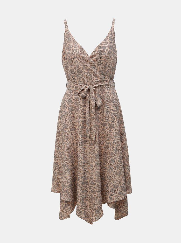 Svetloružové šaty s hadím vzorom na ramienka Dorothy Perkins