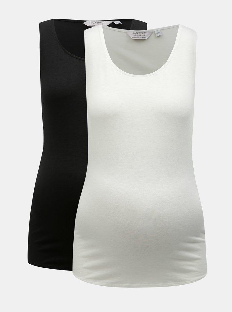 Sada dvou těhotenských basic tílek v bílé a černé barvě Dorothy Perkins Maternity