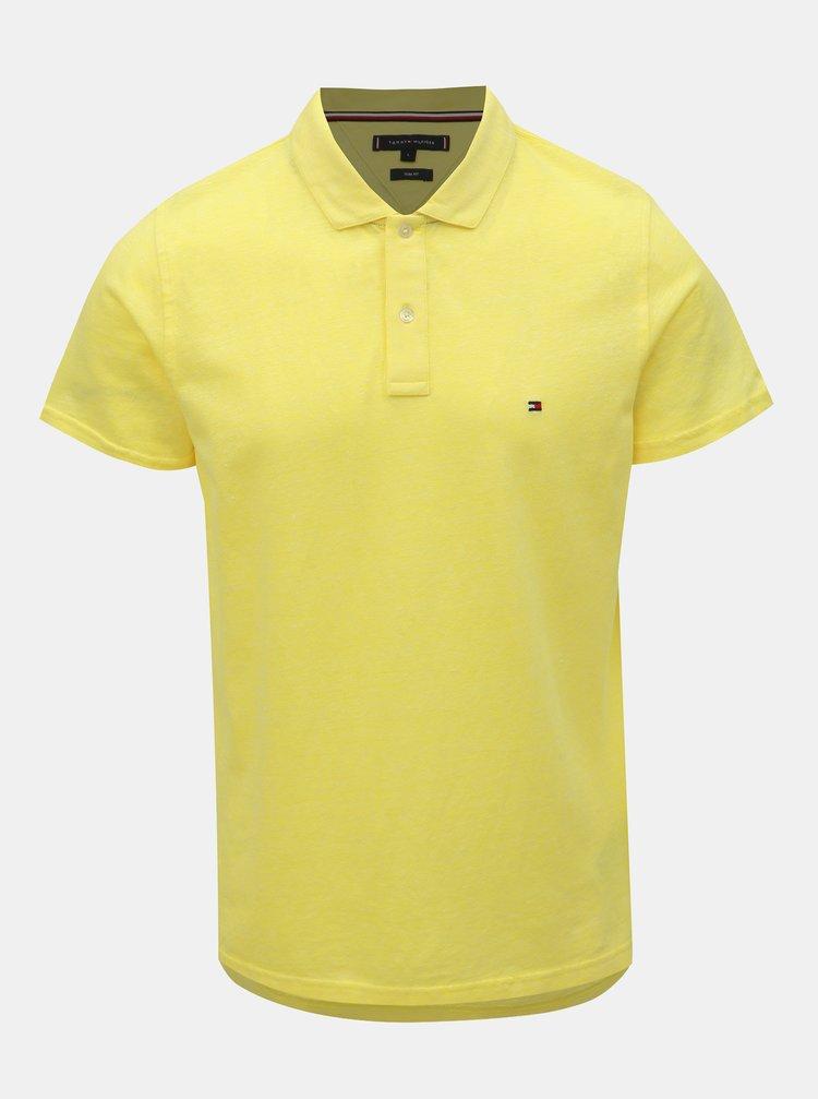 Žluté pánské lněné basic polo tričko Tommy Hilfiger