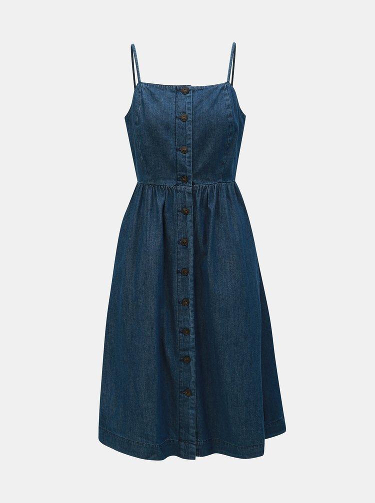 Rochie midi albastru inchis din denim VERO MODA Flavia