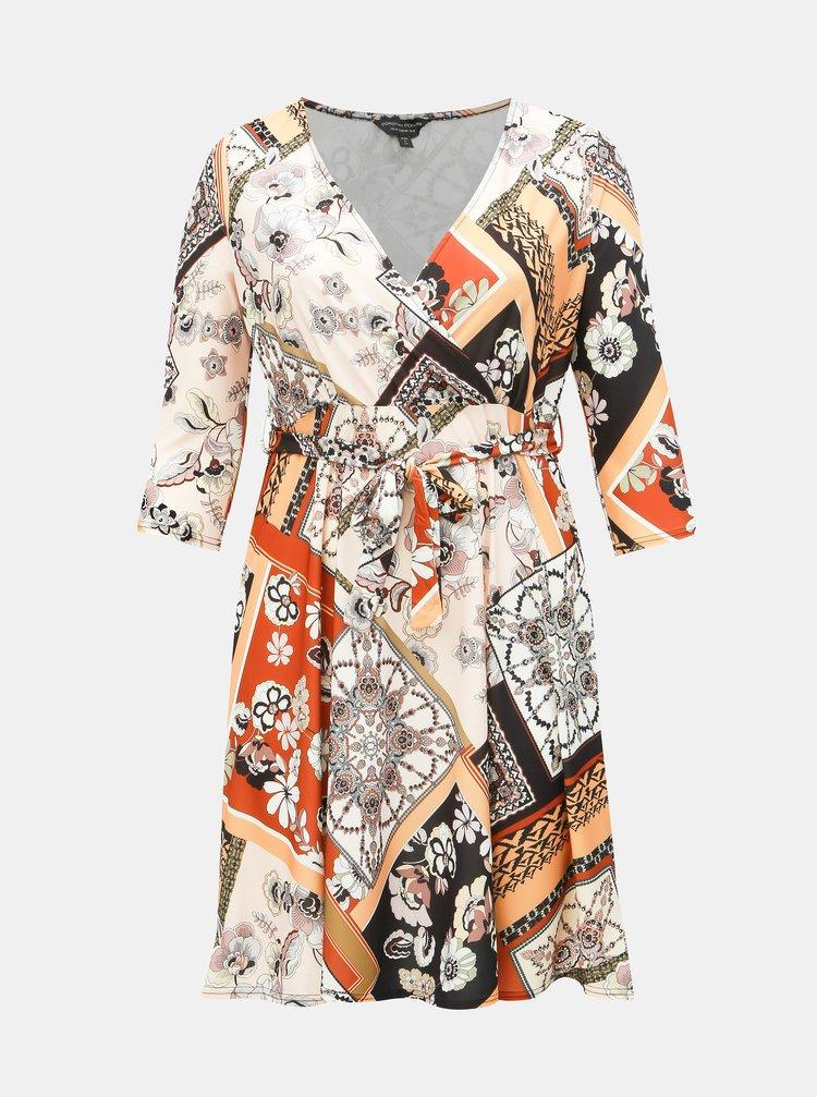 Krémové vzorované šaty Dorothy Perkins Curve