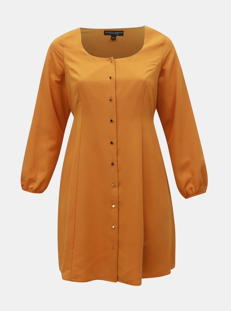 Hořčicové šaty Dorothy Perkins Curve