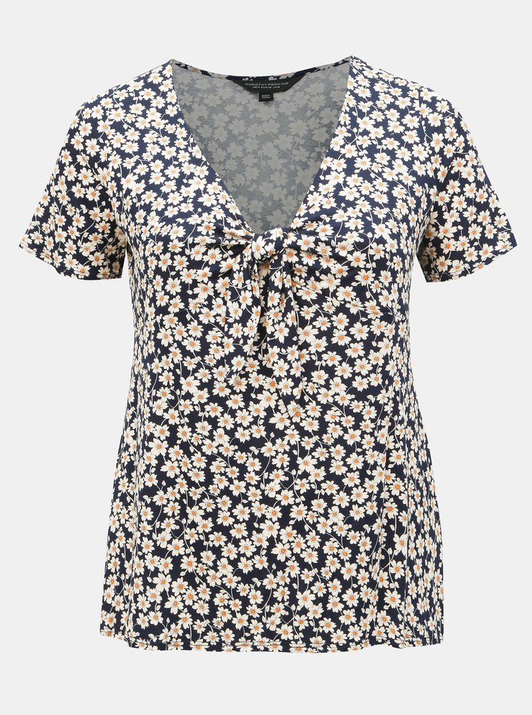Tricou albastru inchis floral Dorothy Perkins Curve