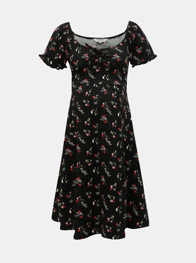 Černé těhotenské květované šaty Dorothy Perkins Maternity