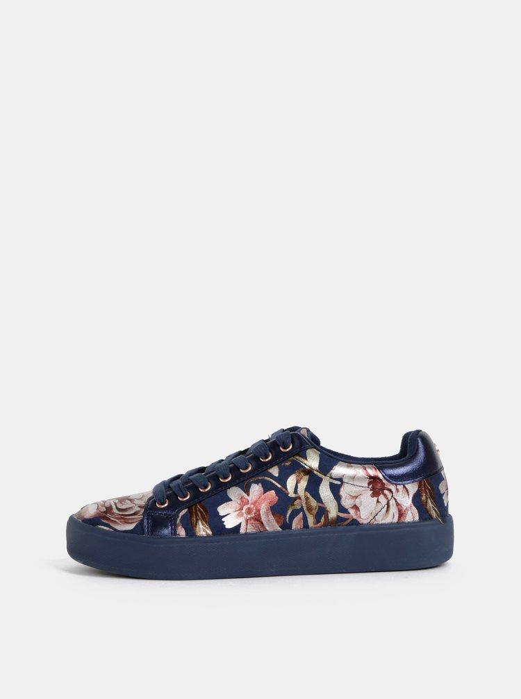 Tmavě modré květované tenisky Tamaris