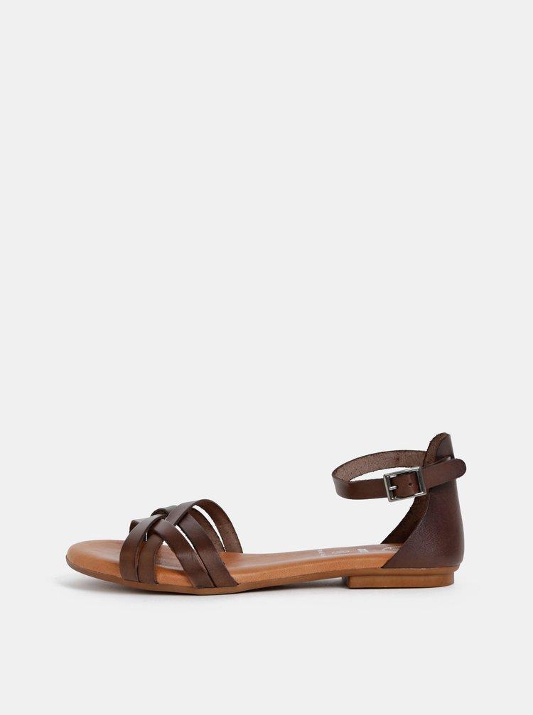 Tmavohnedé kožené sandále OJJU