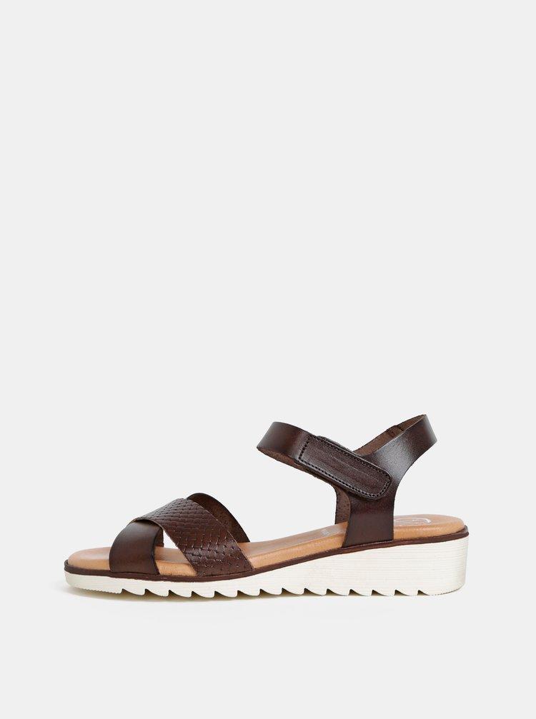 Tmavě hnědé kožené sandály na klínku OJJU
