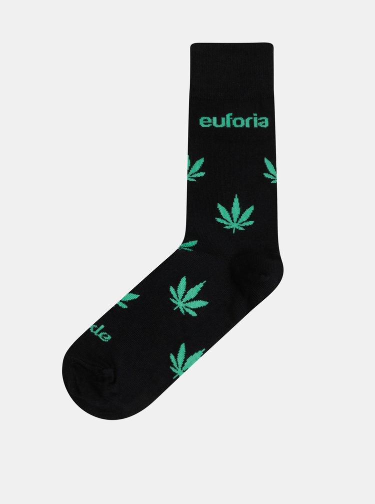 Černé dámské vzorované ponožky Fusakle Euforia zelena