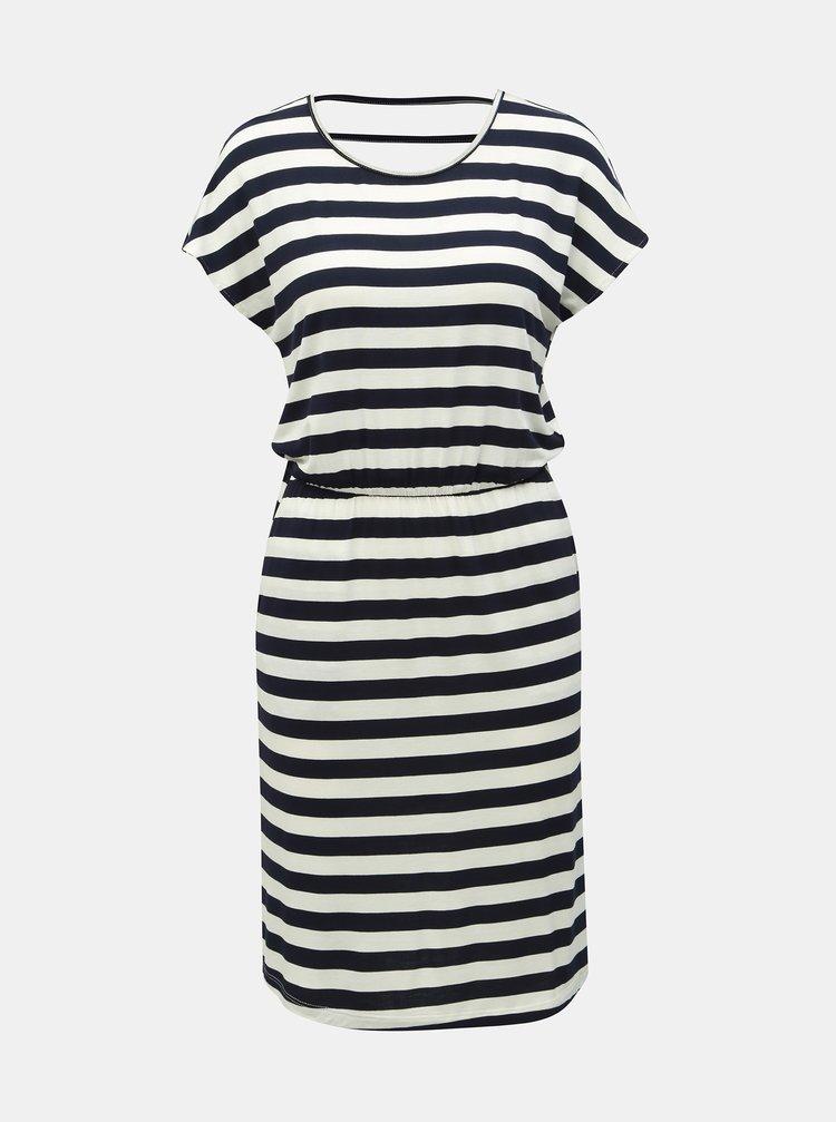 Bielo–modré pruhované šaty s prestrihmi ONLY Bali