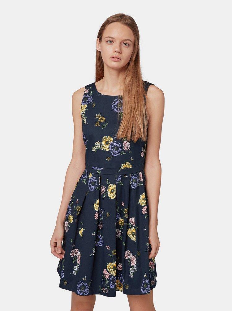 Tmavě modré květované šaty Tom Tailor Denim