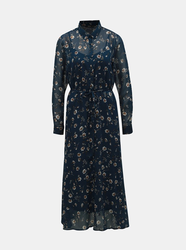 Rochie tip camasa maxi albastru inchis florala ONLY Sheena