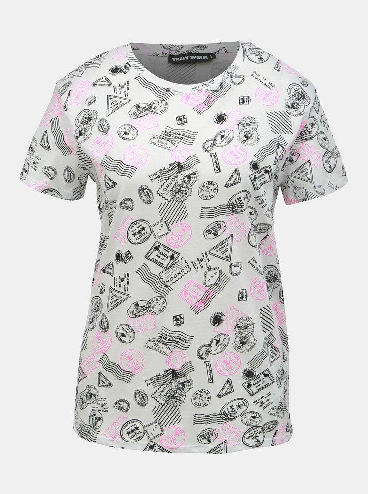 Bílé vzorované tričko TALLY WEiJL