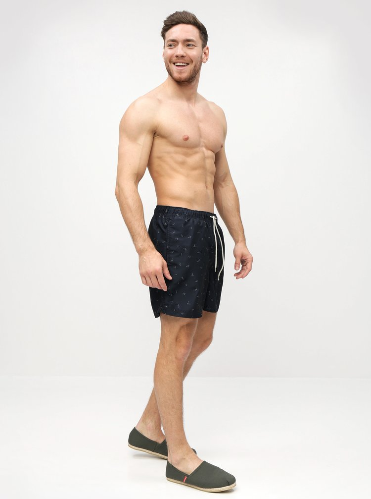 Tmavomodré vzorované plavky Selected Homme Classic