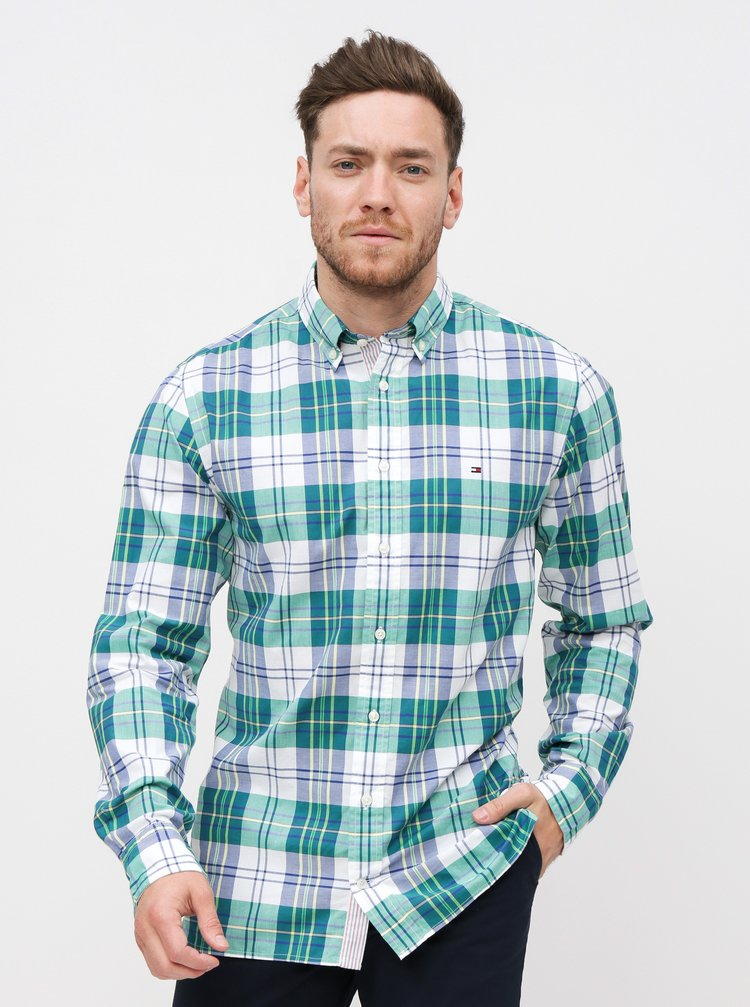 Bílo-zelená pánská kostkovaná regular fit košile Tommy Hilfiger