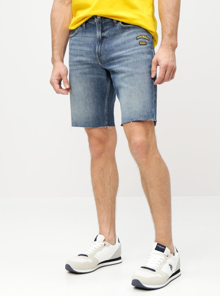 Modré pánské slim fit džínové kraťasy Calvin Klein Jeans
