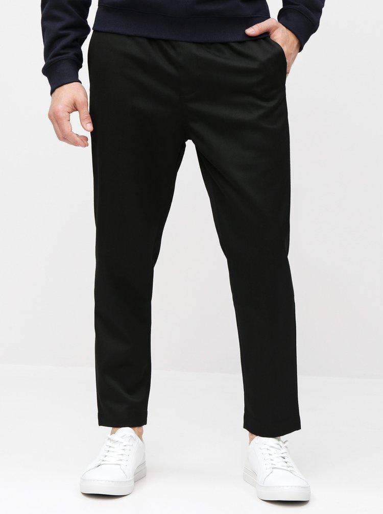 Čierne pánske skrátené nohavice s prímesou vlny Calvin Klein Jeans