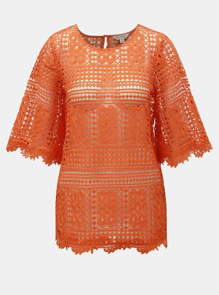 Top oranj din dantela Miss Selfridge