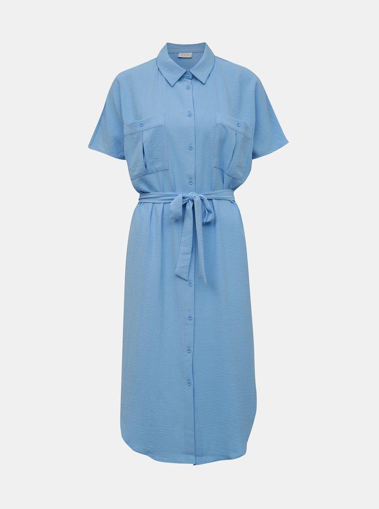 Modré košeľové šaty VILA Rasha