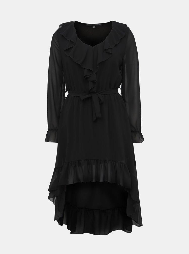 Čierne šaty s volánom Mela London