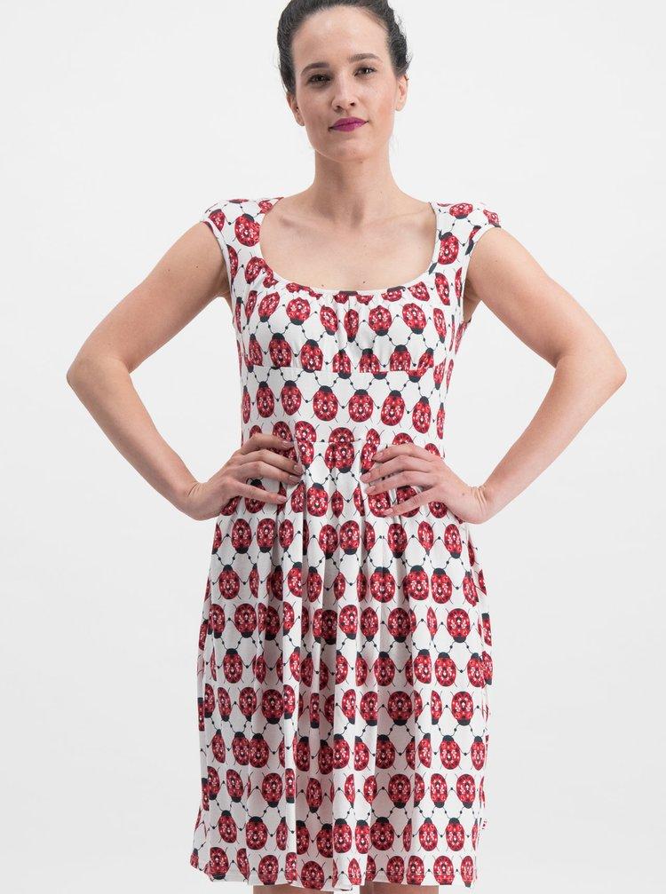 Bielo–červené vzorované šaty Blutsgeschwister Glockengeläut