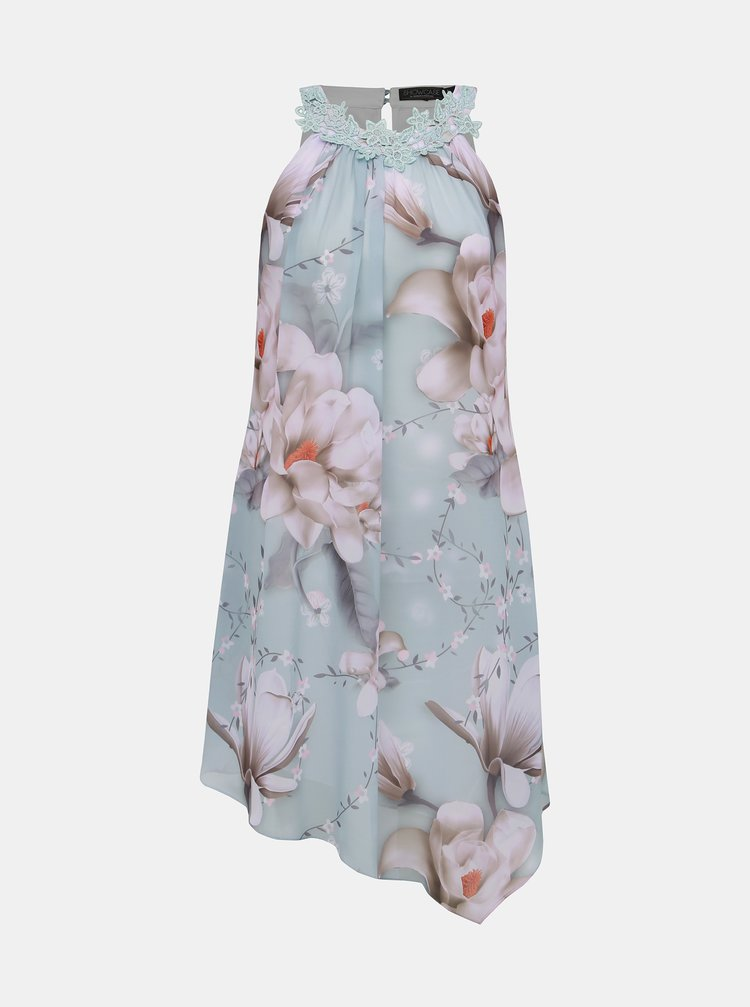 Rochie asimetrica albastru deschis florala Dorothy Perkins