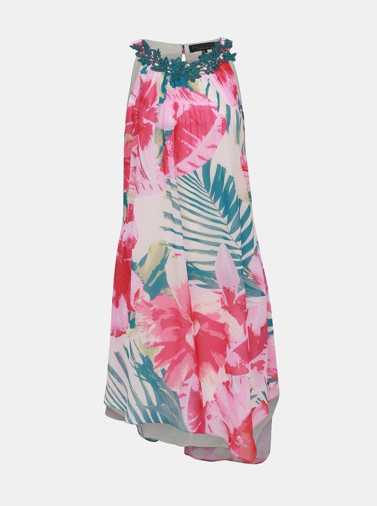 Zeleno–ružové kvetované asymetrické šaty Dorothy Perkins