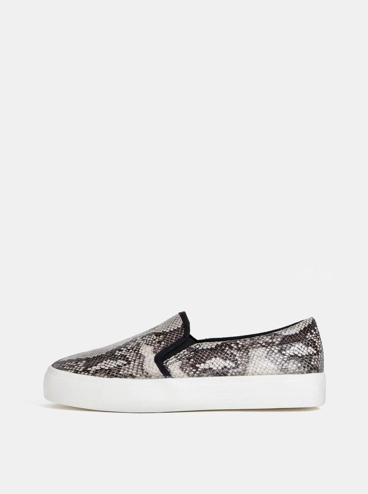 Pantofi slip on gri cu motiv sarpe Dorothy Perkins