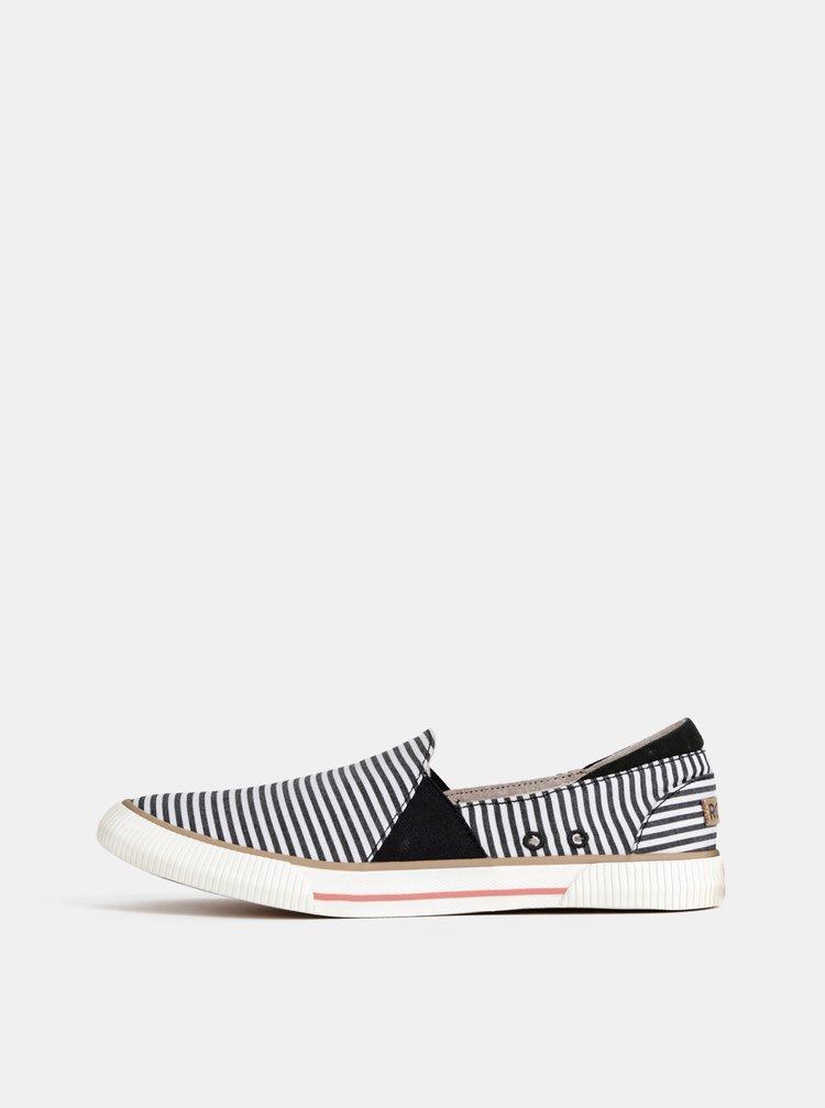 Pantofi slip on alb-negru in dungi Roxy Brayden