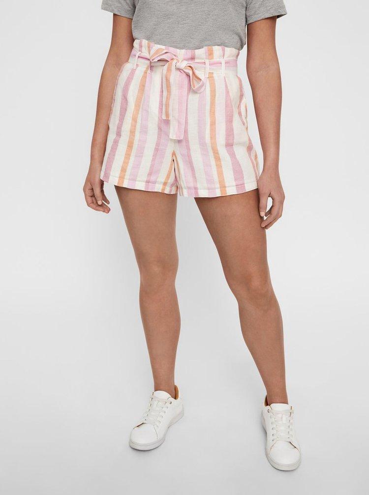 Pantaloni scurti alb -roz in dungi cu amestec de in VERO MODA Tavi