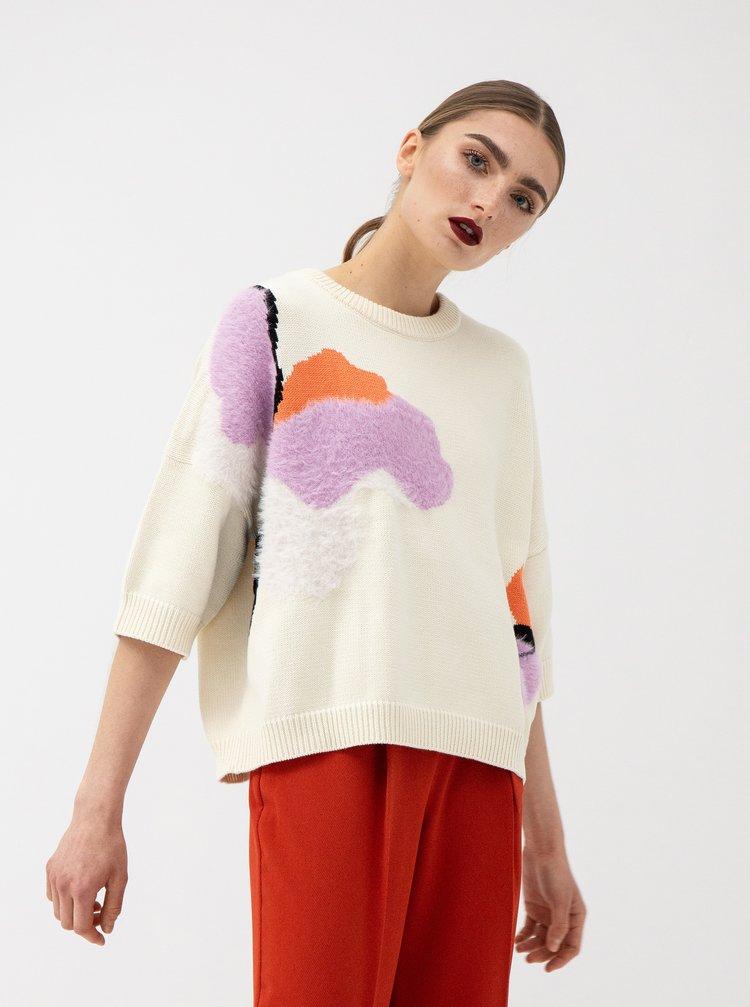 Krémový svetr se vzorem z nízkého chlupu Selected Femme Falba