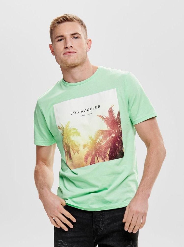 Světle zelené tričko s potiskem ONLY & SONS Lamani