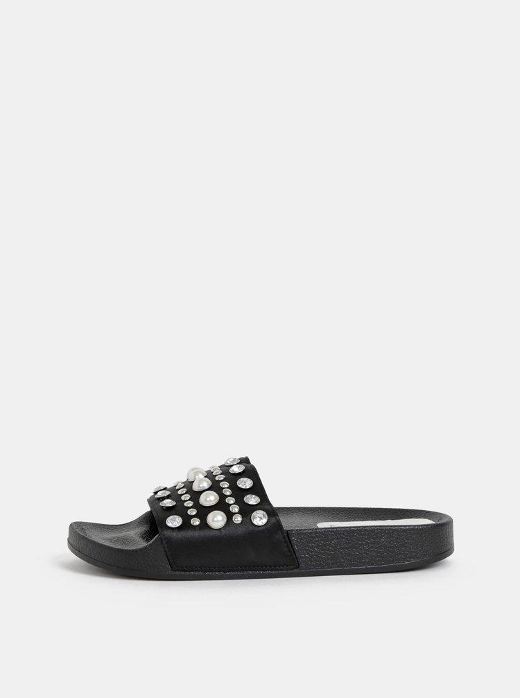 Čierne dámske šľapky s aplikáciou Haily´s Diamy