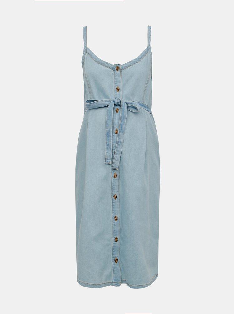 Světle modré džínové těhotenské šaty Mama.licious