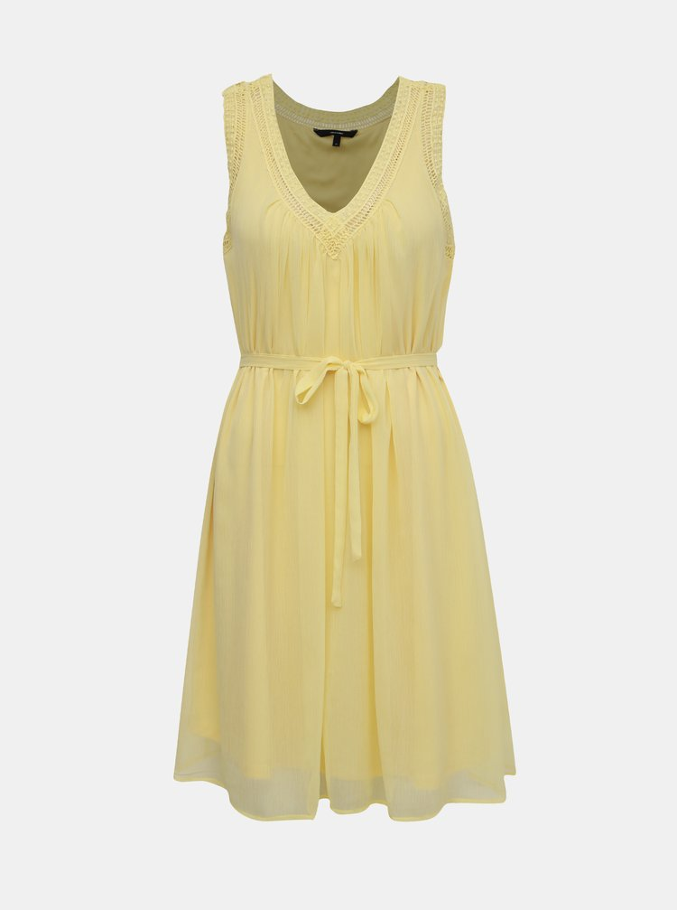 Žluté šaty s krajkovým lemem VERO MODA Enjoy