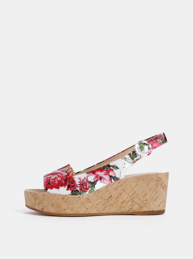 Biele kvetované sandálky na plnom podpätku Högl Seaside