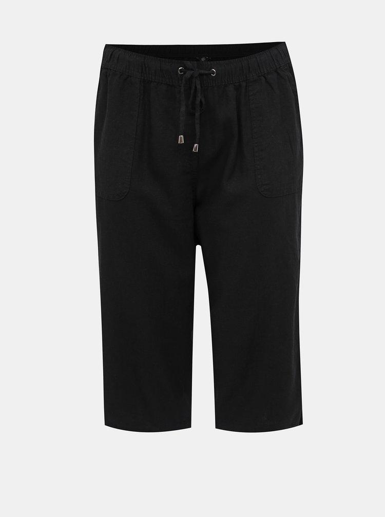 Čierne dámske ľanové 3/4 nohavice M&Co Plus
