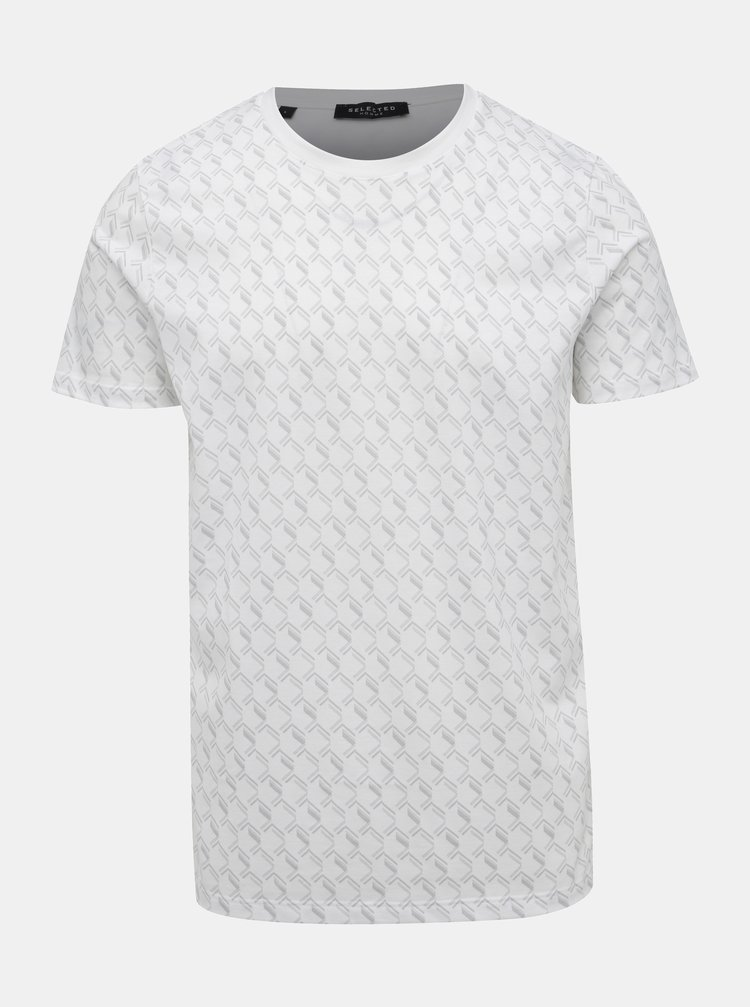 Bílé vzorované tričko Selected Homme Aiden